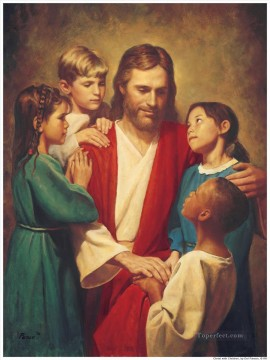 Christ And Children From Around The World Oil Paintings