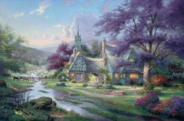 Artworks in 150 Subjects Painting - Clocktower Cottage Thomas Kinkade church