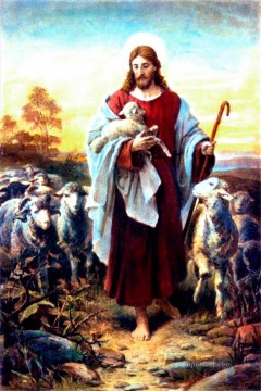 Good Shepherd Bernhard Plockhorst religious Christian Oil Paintings