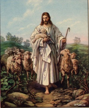 jesus Painting - Jesus the Good Shepherd 4 religious Christian
