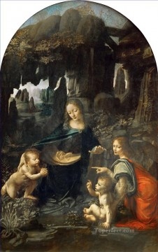 Vinci Oil Painting - Madonna of the Rocks 3 Leonardo da Vinci Christian Catholic