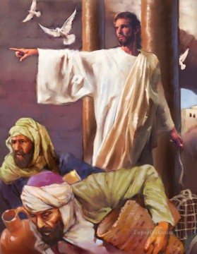 jesus and pigeon religious Christian Oil Paintings