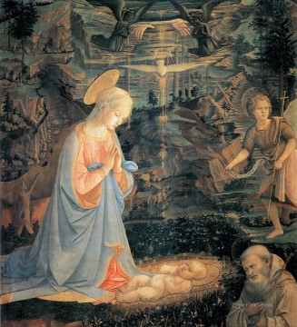 religious canvas - the adoration of the infant jesus Filippo Lippi religious Christian