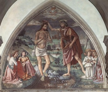 Baptism Of Christ religious Domenico Ghirlandaio Oil Paintings