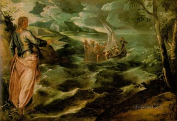 italian Painting - Christ at the Sea of Galilee Italian Tintoretto
