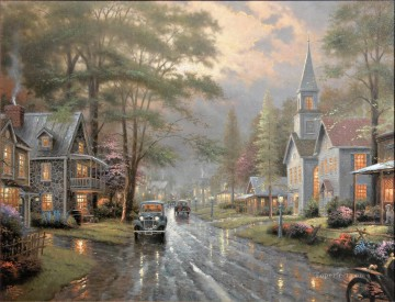 thomas kinkade Painting - Hometown Evening Thomas Kinkade church