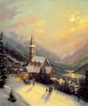 Moonlit Village Thomas Kinkade church
