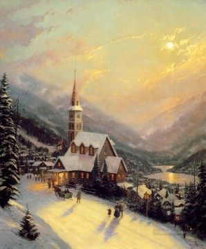 Artworks in 150 Subjects Painting - Moonlit Village Thomas Kinkade church