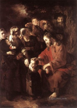 Maes Art Painting - Christ Blessing the Children Nicolaes Maes