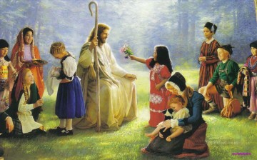 Christ and children on grassland Oil Paintings