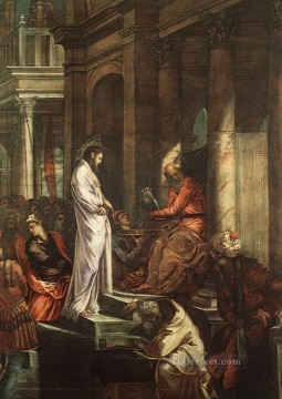 italian Painting - Christ before Pilate Italian Tintoretto