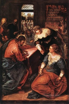 italian Painting - Christ in the House of Martha and Mary Italian Tintoretto