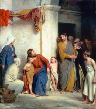 Christ with Children religion Carl Heinrich Bloch Oil Paintings