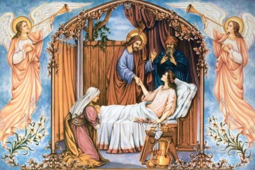 jesus Painting - JESUS HEALS THE DAUGHTER OF JAIRUS religious Christian