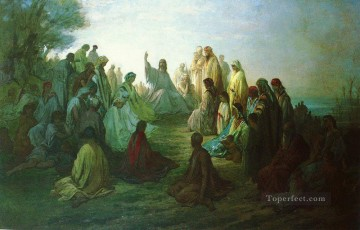 JESUS PRECHANT SUR LA MONTAGNE painter Gustave Dore religious Christian Oil Paintings