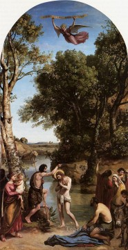 The Baptism of Christ plein air landscape Romanticism Jean Baptiste Camille Corot Oil Paintings