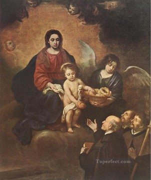jesus Painting - The Infant Jesus Distributing Bread to Pilgrims Spanish Bartolome Esteban Murillo religious Christian
