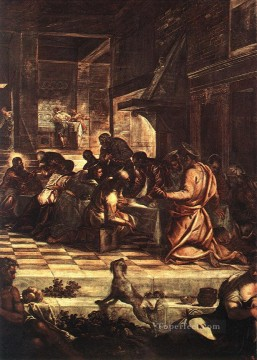 Artworks in 150 Subjects Painting - The Last Supper detail1 Italian Tintoretto religious Christian