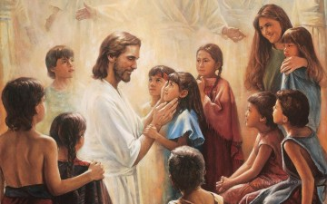 jesus blesses the nephite children 2 religious Christian Oil Paintings
