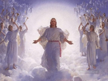 jesus christ and angels Oil Paintings