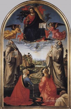 Christ In Heaven With Four Saints And A Donor religious Domenico Ghirlandaio Oil Paintings