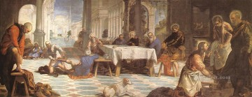 italian Painting - Christ Washing the Feet of His Disciples Italian Tintoretto