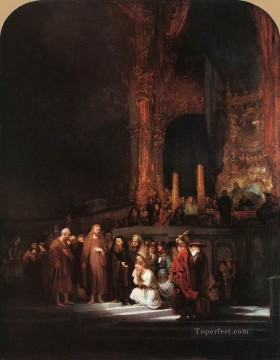 baptism of christ Painting - Christ and the Woman Taken in Adultery Rembrandt