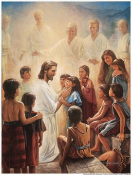 religious Painting - Jesus Blesses The Nephite Children religious Christian
