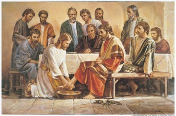 Jesus Washing The Apostles Feet religious Christian Oil Paintings