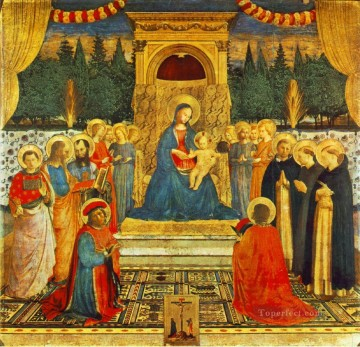 religious canvas - Madonna With The Child Saints And Crucifixion religious Fra Angelico religious Christian