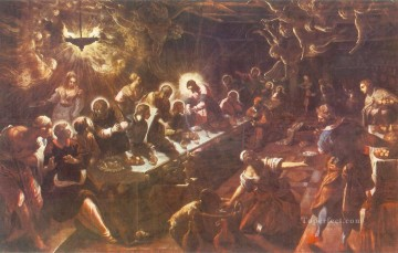 italian Painting - The Last Supper Italian Tintoretto religious Christian
