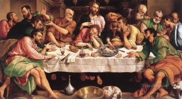 The Last Supper religious Jacopo da Ponte religious Jacopo Bassano religious Christian Oil Paintings