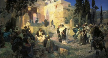 jesus Painting - a depiction of jesus and the woman taken in adultery Vasily Polenov religious Christian