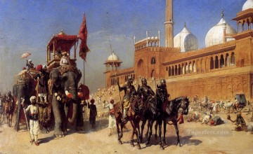Great Mogul And His Court Returning From The Great Mosque At Delhi India Arabian Edwin Lord Weeks Islamic Oil Paintings