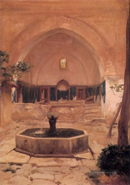 Islamic Painting - Courtyard of a Mosque at Broussa 1867 Academicism Frederic Leighton Islamic