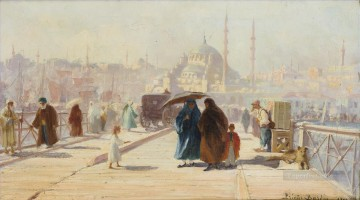 LE PONT DE GALATA CONSTANTINOPLE by Francois Leon Prieur Bardin Islamic Oil Paintings