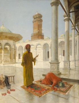 Islamic Painting - Prayer at the Muhammad Ali Mosque Cairo Alphons Leopold Mielich Islamic
