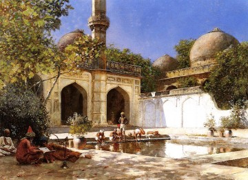 Figures in the Courtyard of a Mosque Arabian Edwin Lord Weeks Islamic Oil Paintings