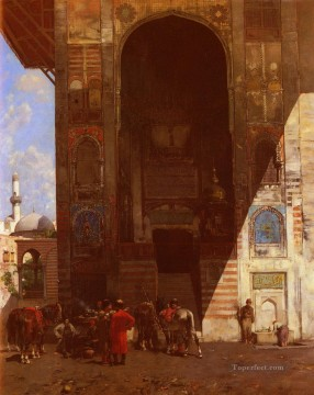 Halte A La Mosquee Arabian Alberto Pasini Islamic Oil Paintings