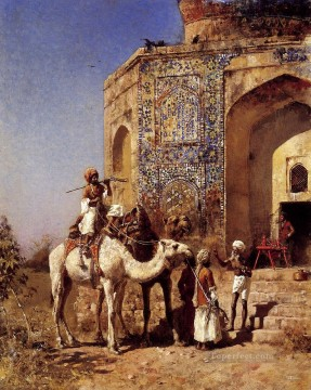 Old Blue Tiled Mosque Outside Of Delhi India Arabian Edwin Lord Weeks Islamic Oil Paintings