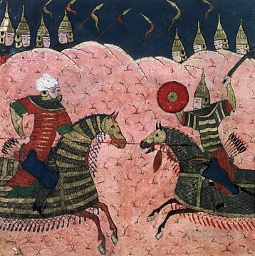 painting Oil Painting - Persian Mongol School Painting Two Warriors Fighting Aggression religious Islam