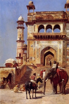 Religious Painting - Before A Mosque Arabian Edwin Lord Weeks Islamic