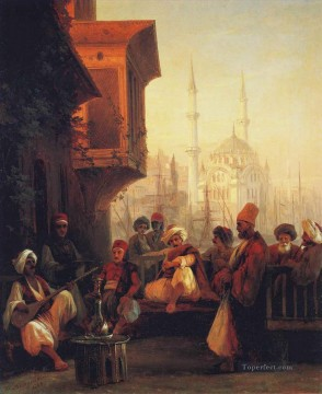 Islamic Painting - Coffee house by the Ortakoy Mosque in Constantinople Ivan Aivazovsky Islamic