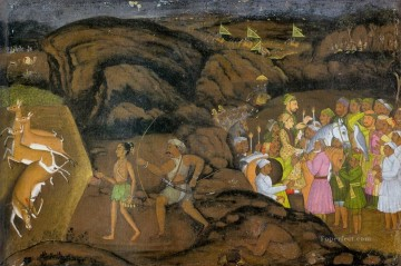 hunting Canvas - Mir Kalan Khan Hunting Antelopes at Night religious Islam
