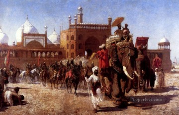 Artworks in 150 Subjects Painting - The Return Of The Imperial Court From The Great Mosque At Delhi Indian Islamic