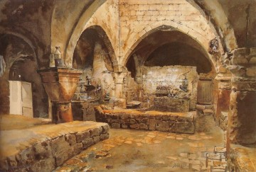 Kaffeehaus in Jerusalem Gustav Bauernfeind Orientalist Jewish Oil Paintings
