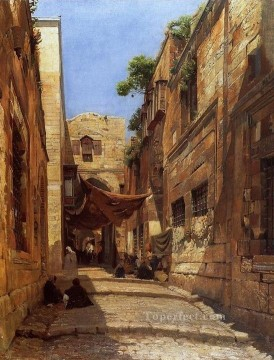 Scene of Street in Jerusalem Gustav Bauernfeind Orientalist Jewish Oil Paintings