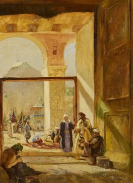 Orientalist Art Painting - Atrium of the Umayyad Mosque in Damascus Gustav Bauernfeind Orientalist Jewish