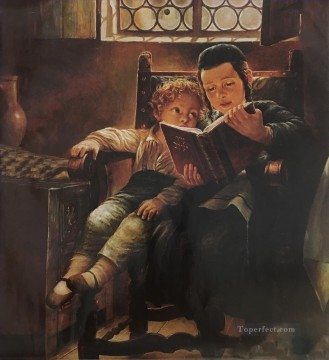 Jewish boy reading Oil Paintings