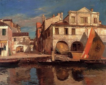 Kanalszene In Chioggia Mit Bragozzo Canal Scene in Chioggia with Bragozzo Gustav Bauernfeind Orientalist Jewish Oil Paintings